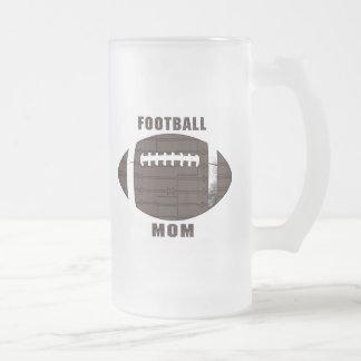 Mamá del fútbol jarra de cerveza esmerilada