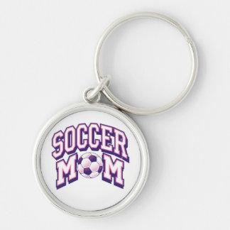 Mamá del fútbol llavero redondo plateado