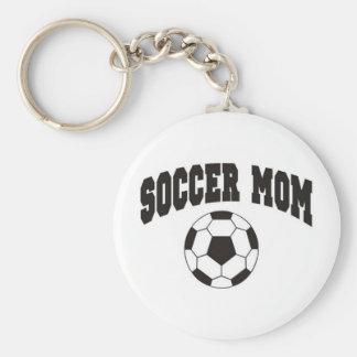 Mamá del fútbol llavero redondo tipo pin