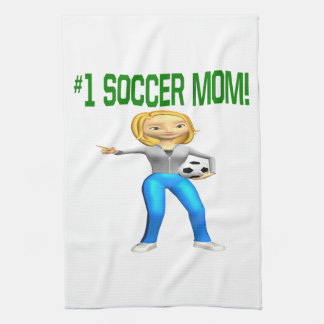 Mamá del fútbol toalla de mano