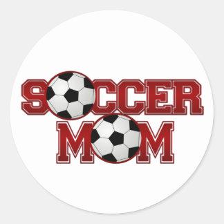 Mamá del fútbol etiqueta redonda