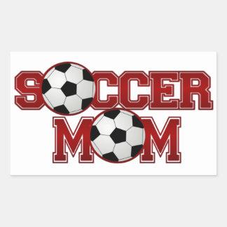 Mamá del fútbol rectangular pegatina