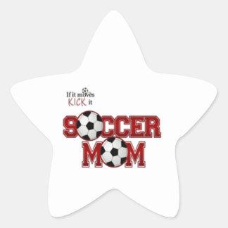 Mamá del fútbol calcomanías forma de estrellaes