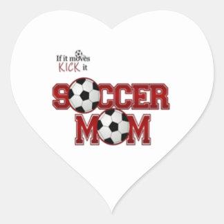 Mamá del fútbol calcomanías corazones