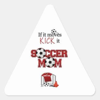 Mamá del fútbol pegatinas triangulo