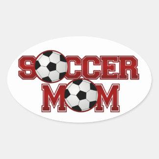 Mamá del fútbol calcomania óval personalizadas