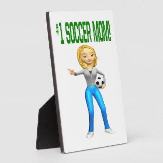 Mamá del fútbol placa de madera