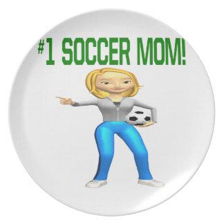 Mamá del fútbol plato para fiesta