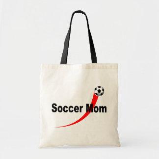 Mamá del fútbol (Rd/Blk) Bolsa Tela Barata