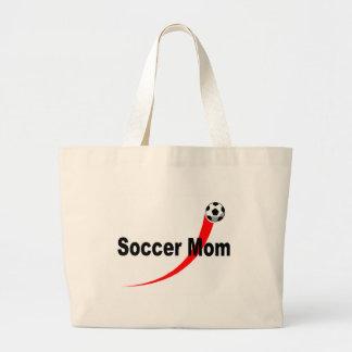 Mamá del fútbol (Rd/Blk) Bolsa Tela Grande