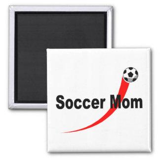 Mamá del fútbol (Rd/Blk) Imán Cuadrado