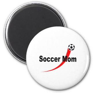 Mamá del fútbol (Rd/Blk) Imán Redondo 5 Cm