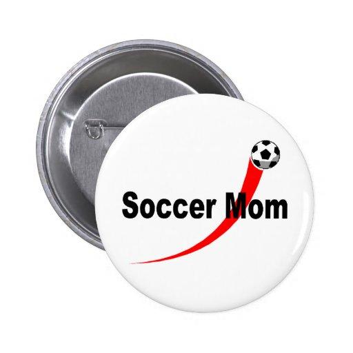 Mamá del fútbol (Rd/Blk) Pins