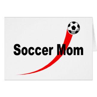 Mamá del fútbol rojo negro felicitaciones