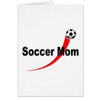 Mamá del fútbol (rojo/negro) tarjeta de felicitación