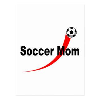 Mamá del fútbol (rojo/negro) tarjeta postal