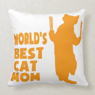 Mamá del gato de Besr del mundo (naranja) Cojín