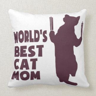 Mamá del gato de Besr del mundo (púrpura) Cojín