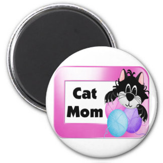 Mamá del gato imán redondo 5 cm