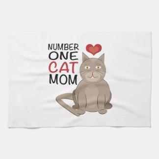 Mamá del gato toalla de mano