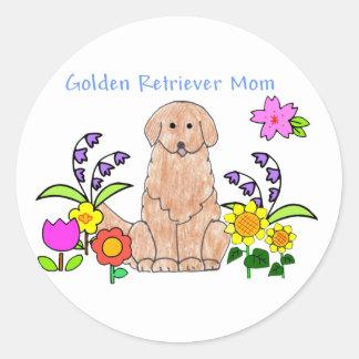 Mamá del golden retriever pegatina redonda
