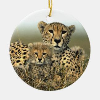 Mamá del guepardo y ornamento de Cub Ornamento De Navidad