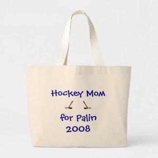 Mamá del hockey para el tote 2008 de Palin Bolsa Tela Grande