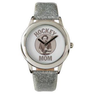 Mamá del hockey relojes de pulsera