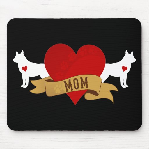 Mamá del husky siberiano [estilo del tatuaje] alfombrillas de ratones