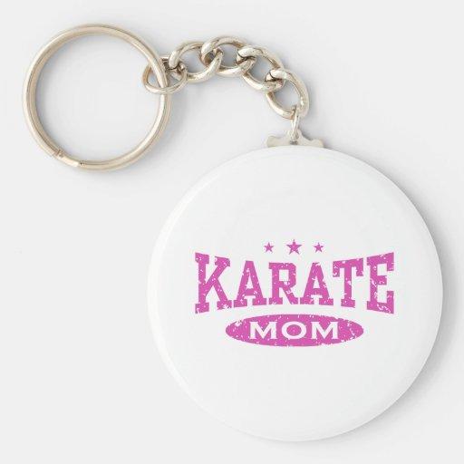 Mamá del karate llavero redondo tipo pin