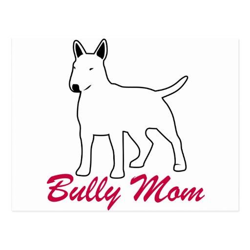 Mamá del matón de bull terrier tarjeta postal