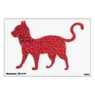 ¡Mamá del maullido! Etiqueta roja del gato de leop Vinilo Decorativo