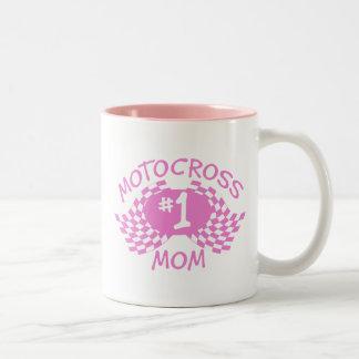 Mamá del motocrós taza de dos tonos