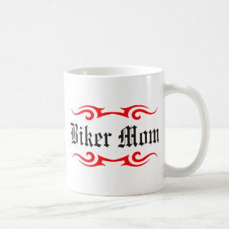 Mamá del motorista taza básica blanca