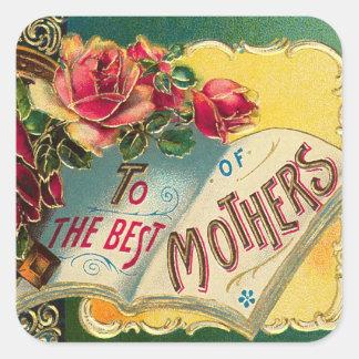 Mamá del mundo floral del vintage la mejor pegatina cuadrada