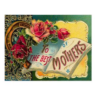 Mamá del mundo floral del vintage la mejor postales