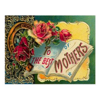 Mamá del mundo floral del vintage la mejor postal