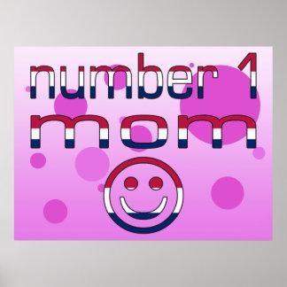 Mamá del número 1 en colores de la bandera america posters