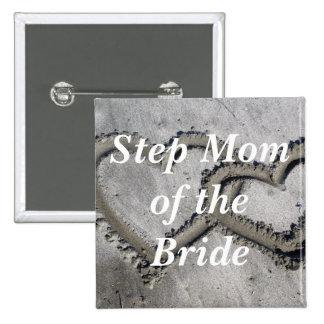 Mamá del paso de la novia pin cuadrado