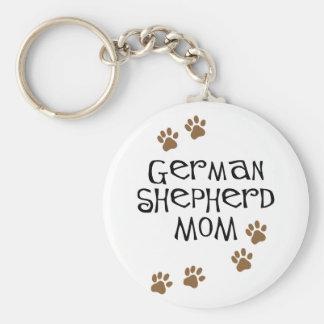 Mamá del pastor alemán llavero redondo tipo pin
