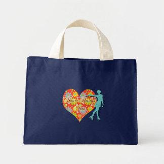 Mamá del patinaje artístico - flores/corazón/patin bolsa tela pequeña