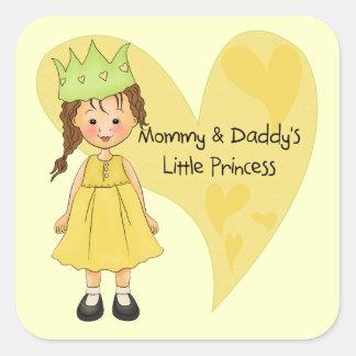 Mamá del pelo de Brown y la princesa del papá Pegatina Cuadradas Personalizada