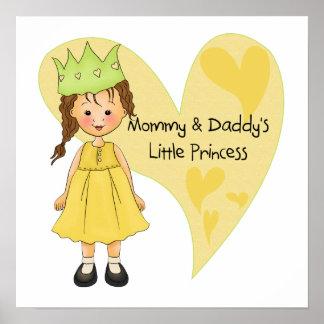 Mamá del pelo de Brown y la princesa del papá Póster