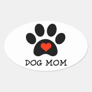 Mamá del perro de Pawprint Calcomanía Óval