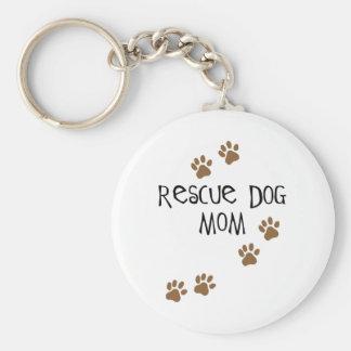 Mamá del perro del rescate llavero redondo tipo pin