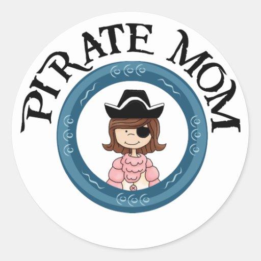 Mamá del pirata pegatina redonda