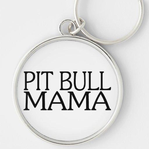 Mamá del pitbull llavero redondo plateado