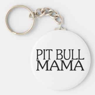 Mamá del pitbull llavero redondo tipo pin