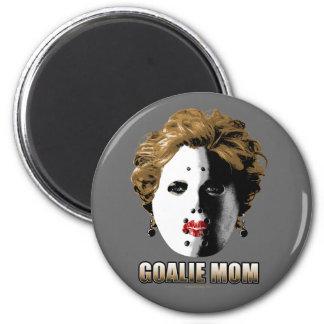 Mamá del portero del hockey imán redondo 5 cm