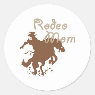 Mamá del rodeo pegatina redonda